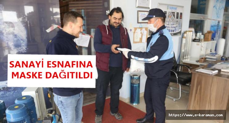 Karaman'da Sanayi Esnafına Maske Dağıtımı Yapıldı