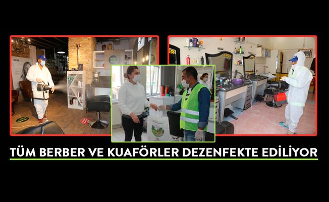 TÜM BERBER VE KUAFÖRLER DEZENFEKTE EDİLİYOR